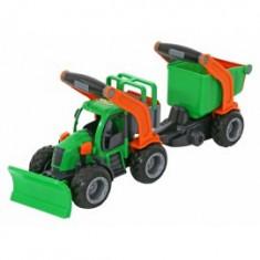 Tractor cu plug de zapada si remorca cu container, Wader