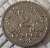 Moneda istorica 2 FRANCI - FRANTA, anul 1943   *cod 438 A