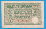 (1) BANCNOTA GERMANIA - 50 PFENNIG ND, WW2 - NAZISTA, MAI RARA
