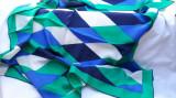 Batic matase naturala verde/albastru/alb