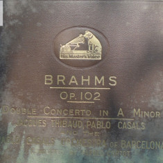 Brahms OP 102 - dublu concert in A MInor - P Casals, J Thibaud 4 discuri patefon