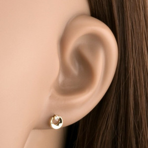 Cercei din aur galben de 14K - cerc cu decupaj și diamant transparent