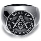 Inel Barbatesc Argintiu- Mason / Freemasons , Illuminati - Diverse Marimi