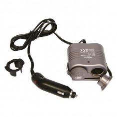 Priza auto dubla Carpoint 12V 1A max.120W cu led si cablu de 130cm Kft Auto