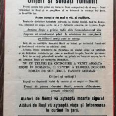 Afis manifest bilet trecere front propaganda 22x15 cm