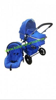 Cărucior nou născut 3 in 1 Baby Care YK 18-19 Albastru închis foto