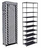 Dulap raft textil LEA pentru depozitare incaltaminte, imbracaminte sau accesorii, 9 nivele, 2 buzunare laterale, model zebra, negru/alb, Palmonix