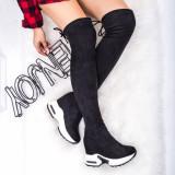 Cizme dama inalte peste genunchi textil negre Insaria-rl
