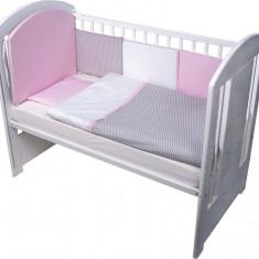 Set de pat pentru bebelusi Chevron Grey Pink 10 piese