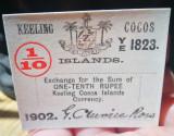 Insulele Cocos Keeling 1/10 Rupie 1902 bancnota autentica (nu copie)