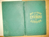 B976-Harta veche suburbiile Londrei anii 1900 pe panza.