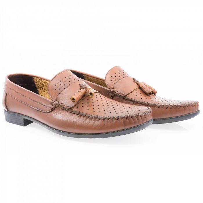 Pantofi barbati Caspian din piele naturala Cas-690-TABA-LAZ