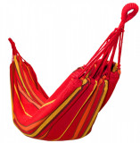 Hamac Single pentru Curte sau Gradina, Dimensiuni 200x100cm, cu Sac de Depozitare, Capacitate 130kg, Rosu/Galben