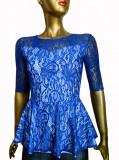 Bluza eleganta de culoare albastra, cu peplum design asimetric