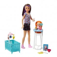 Set papusa cu bebelus Babaysitter Mattel, patut inclus, 3 ani+