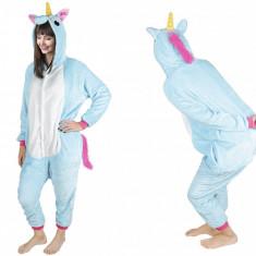 Costum Unicorn cu gluga pentru carnaval sau petreceri, marime XL, culoare Albastru