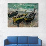 Tablou Canvas, Trei Barci pe Mal - 80 x 100 cm