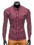 Camasa pentru barbati, rosu, cu model, slim fit, casual, buzunar piept, cu guler - k394