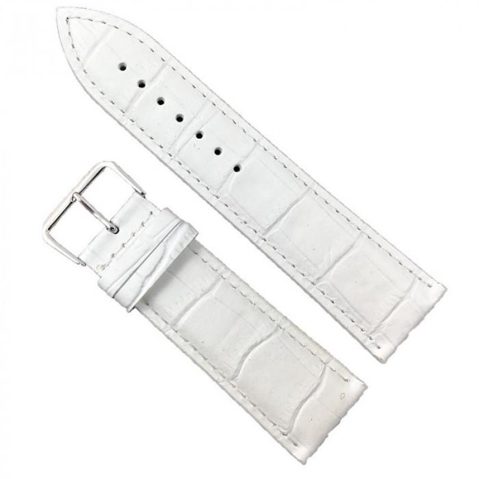 Curea de ceas din piele naturala Alba - 24mm WZ2004
