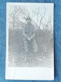 163 - Fotografie veche soldat cu arma WW1