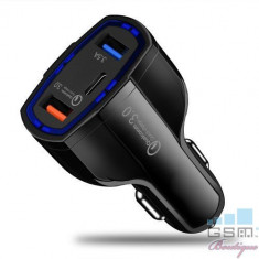 Incarcator Masina iPhone 6s Dual USB Si USB Tip C Negru