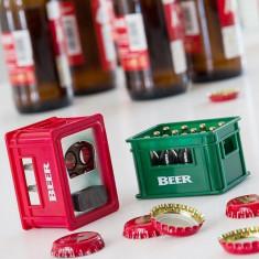 Desfacator de sticle cu magnet tip lada de bere