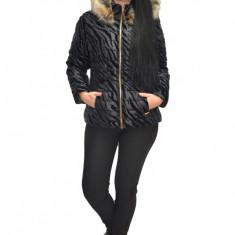 Jacheta moderna din fas cu insertii de catifea, nuanta neagra