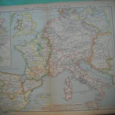 HOPCT DOCUMENT-HARTA VECHE NR 36 EUROPA VEST SI CENTRU D=320/250 MM LEIPZIG 1918
