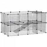 PawHut Tarc Cusca Personalizabil pentru Animalute de Companie in Metal Negru 36 Panouri 35x35cm