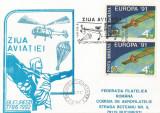 România, Ziua aviaţiei, corespondenţă paraşutată, carton filat., Bucureşti, 1992