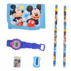 Set ceas, pentru copii, cu Mickey Mouse, portofel si rechizite cadou - 5018630