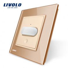 Intrerupator senzor de miscare PIR Livolo cu rama din sticla, Auriu