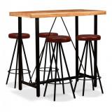 Set mobilier bar 5 piese, lemn masiv sheesham și piele naturală