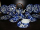 SET / SERVICIU DIN PORTELAN JAPONEZ CEAINIC LETIERA ZAHARNITA CANI FARFURII