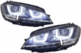 Ansamblu Faruri 3D Semnal LED + Grila compatibil cu VW Golf 7 VII (2012-2017) R Design Argintiu,1
