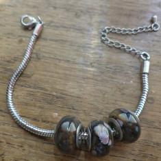 Bratara Pandora cu 3 margele pandora cu jasp