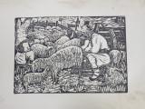' CIOBANI MULGAND OILE ' - GRAVURA PE LEMN de NICOLAE BRANA