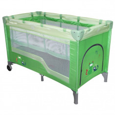 Pat pliant pe 2 nivele Baby Mix 8052-2 verde, 120x60cm