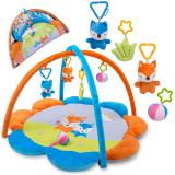 Covoras loc de joaca educativ interactiv pentru copii, cu jucarii, 90 x 45 cm