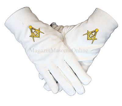 Manusi masonice albe cu simbol galben brodat foto