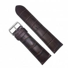 Curea de ceas din Piele de Vitel - culoare Maro - imprimeu crocodil - 24mm - WZ3715
