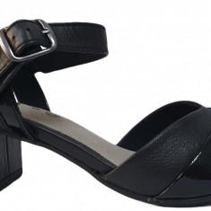 Sandale de dama Jana 8-8-28300-22 001 black, 36 - 40, Negru, Piele naturala
