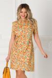 Rochie Cindy galbena cu imprimeu floral