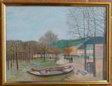 Tablou pictat PEISAJ DE TOAMNA, dimensiune 30/40 cm, Peisaje, Acrilic, Realism