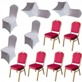Set 6 scaune metalice culoare rosie pentru evenimente,catering 45x51x93cm cu 6 huse elastice albe MN016667-4 Raki