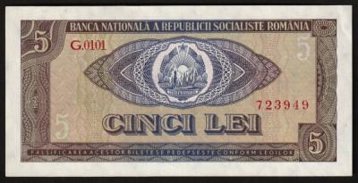 Romania, 5 lei 1966, aUNC_serie G.0101_723949 foto
