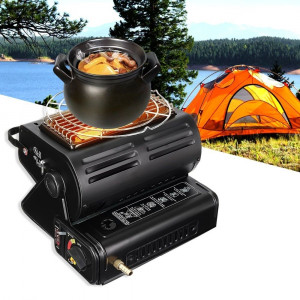 Aragaz si incalzitor camping 2in1 cu adaptor furtun butelie gaz 1.3Kw Happy Home