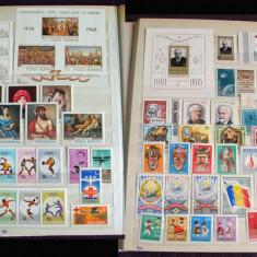 Clasor Romania 430 timbre + 10 colite + 3 blocuri, serii complete nestampilate, Romania de la 1950