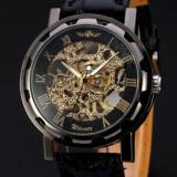Cumpara ieftin Ceas Full mecanic Winner - Black & Gold + cutie cadou
