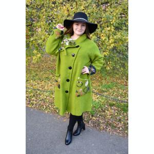 Jacheta fashion tip pardesiu, nuanta de verde cu guler deosebit
